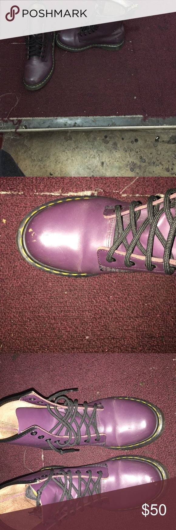 Purple dr Martin boots Purple dr Martin boots had for a very long time Baught these because purple is my favorite color but I don't wear them any more they are creased and it does have a smudged mark in the front other wise in good condition will clean before shipping Shoes Lace Up Boots