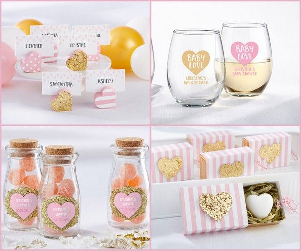 Pink and Gold Sweet Heart Baby Shower Favors from HotRef.com