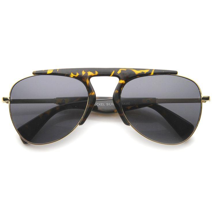 Modern Oversize Semi-Rimless Frame Teardrop Lens Aviator Sunglasses 57mm