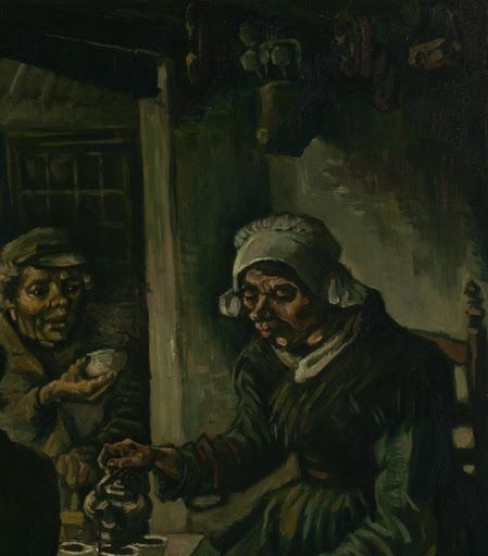 "Van Gogh Museum • ""The Potato Eaters"" - 1885 - (Fragmento).The Potato Eaters, completed in 1885, is considered by many to be Van Gogh's first great work of art. At the time of its creation, Van Gogh had only recently started painting and had not yet mastered the techniques that would later make him famous. This could attribute to the interesting look of the piece as well as the overall feeling produced from the painting."