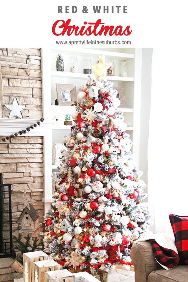 Beautiful Red White Christmas Decor White Christmas Decor Christmas Tree Top Decorations Christmas Tree Decorations