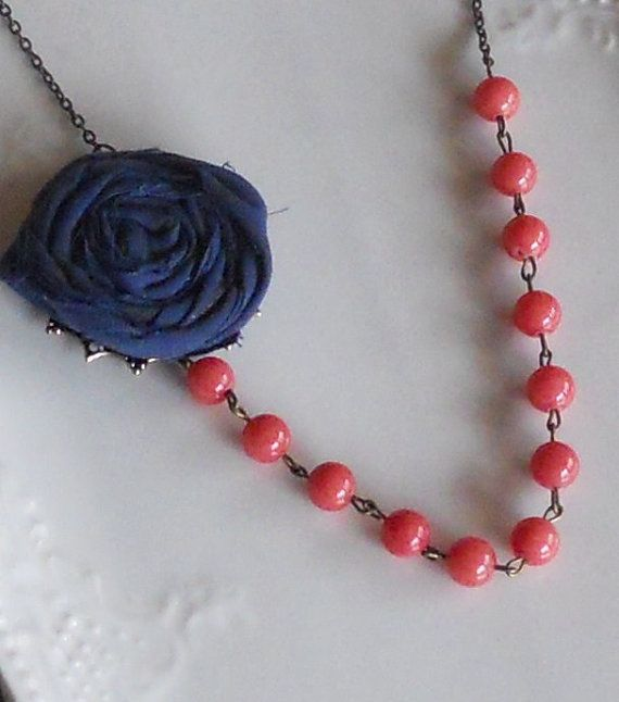 Coral and Navy Wedding Jewelry    Navy Rosette with Coral Beads by AdornmentsbyWendi on Etsy, $20.00