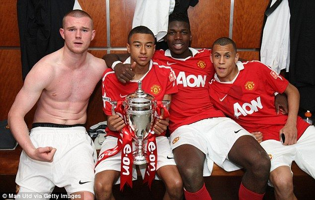Starlets Ravel Morrison (right) and Paul Pogba (second right) celebrate winning the FA Youth Cup with Manchester United back in May 2011 (alongside Ryan Tunnicliffe, left, and Jesse Lingard)