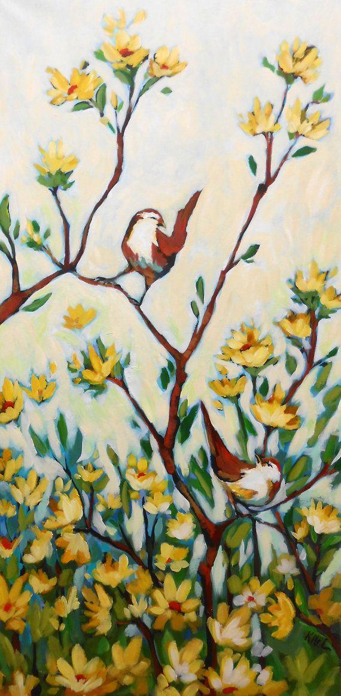 24x48 Two Birds in Yellow Field