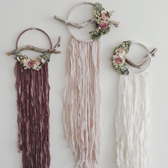 Dreamcatcher Trio | Set of Dreamcatchers | Boho Wallhanging | Bridesmaid Gift | Dream Catcher | Botanical Decor | Silk |