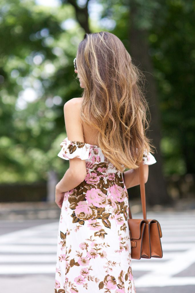 Beachy waves and an off the shoulder dress.
