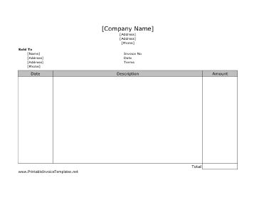 A very straight-forward printable invoice. It has room for dates, descriptions, and prices. It is designed in landscape orientation and does not have lines. It is available in PDF, DOC, or XLS (spreadsheet) format. Free to download and print