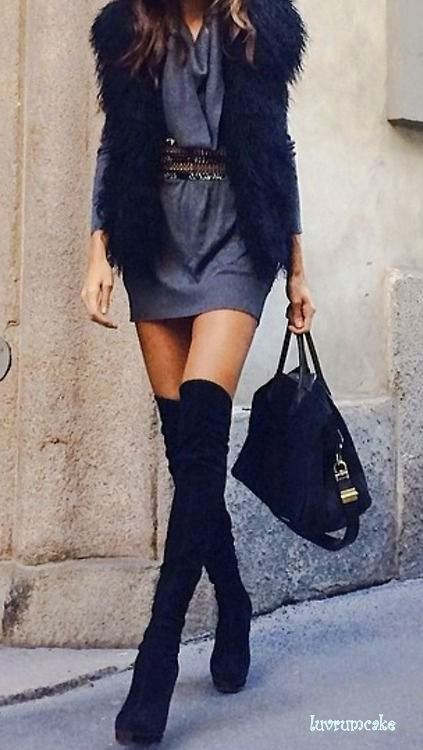 OMG I totally want this outfit <3 Swede Thigh Boots and Faux Vest style!