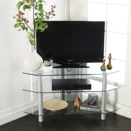glassmetal corner clearsilver tv stand for tvs up to 48 inch