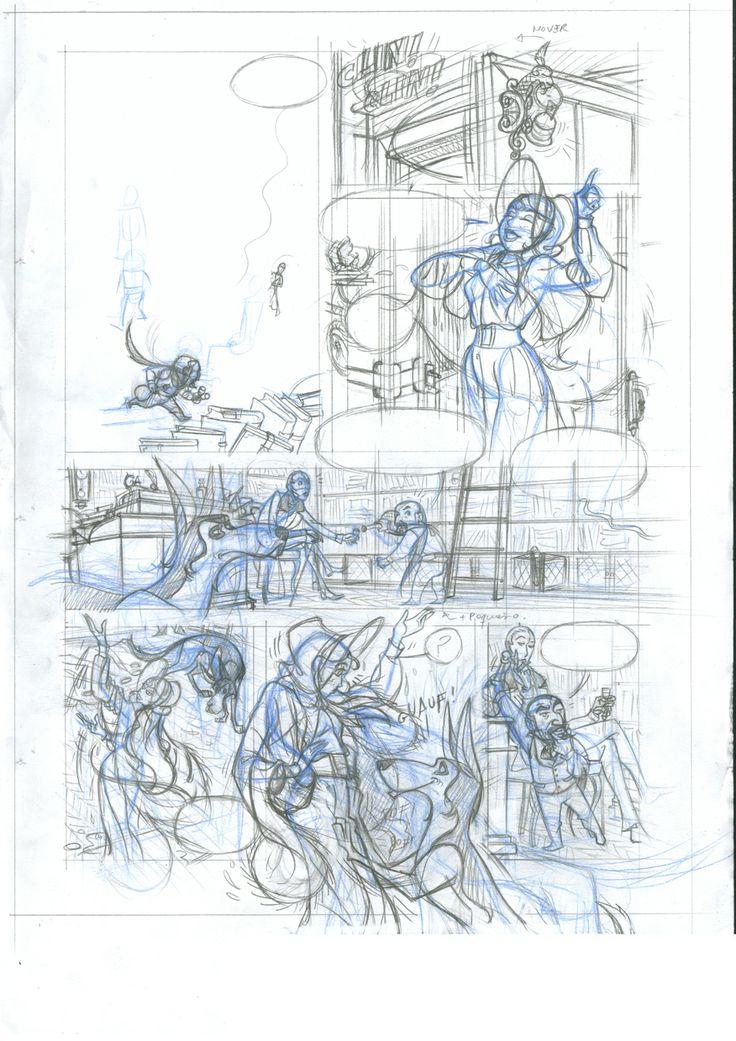 Dibujo pagina 2 c2: lápiz azul y de grafito sobre papel dinA3: 100 €  David Belmonte ©