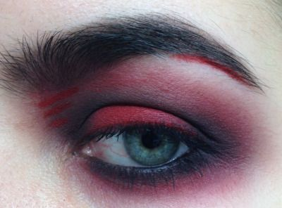 Test run makeup for the top show. Minus the red streak under the tail end of my brow. Not digging that.