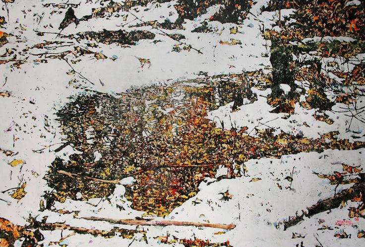 """october,  overnight snowfall 35,  boy scout rd 1 micheal zarowsky 24 """" x 36""""  watercolour / acrylic painted directly on gessoed birch panael"""