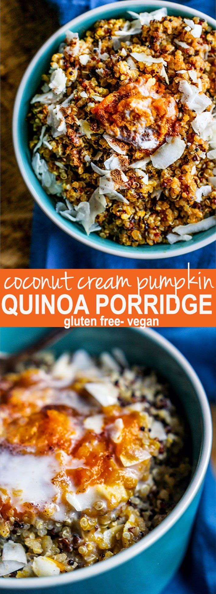 Gluten Free Coconut Creamed Pumpkin Quinoa Porridge. A vegan friendly protein rich breakfast perfect for Fall. Pumpkin and Coconut Cream add in a balance of healthy fats and fiber to make this one powerhouse breakfast! Easy to make on stove top, crock pot, or in a rice cooker.