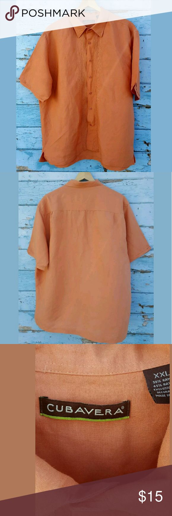 "Cubavera XXL Orange  Mens Urban  Button Down Cubavera XXL Orange Embroidered Design Mens Urban Hipster Casual Shirt  This Shirt is pre-owned, but in great condition. No stains or tears. It does have a very small defect on the back. Please see pictures.   Note: item might have shrunk when washed. We take great care to measure everyitem on a flat surface. To ensure a good fit, please see the following measurements:  Pit to pit 25"" Sleeve Length from the neck line 17"" Length from the back of…"