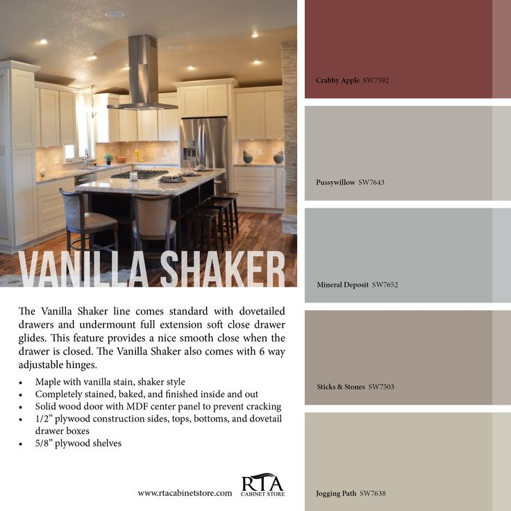 Color palette to go with our vanilla shaker kitchen for Kitchen colour palette ideas