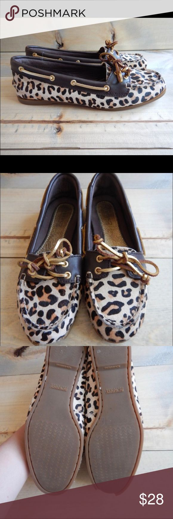 Leopard Sperry Top siders Lamb skin Sperry Top Siders with leopard print  Good condition but flawed! (price reflects) Retail for $70 Come in the original box   FLAW Seen in second photo  Part of the rubber in the front is missing  Please message me with any questions Sperry Shoes Flats & Loafers