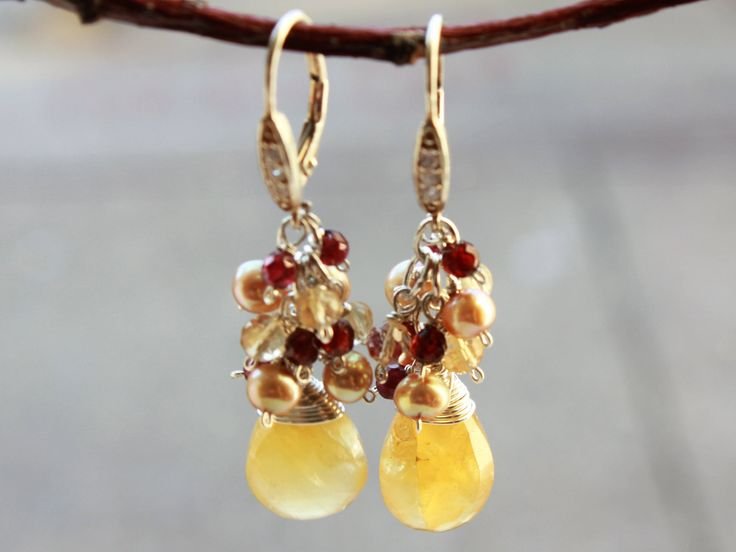 Heliodor Earrings, Sterling Silver wire wrap, yellow gemstone cluster earrings, citrine, garnet, freshwater pearls, mother's day gift by AliraTreasures on Etsy