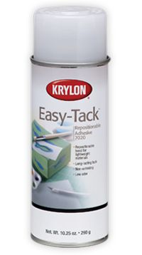 Repositionable Adhesive temporarily and precisely holds lightweight materials, like stencils and photos, in place.