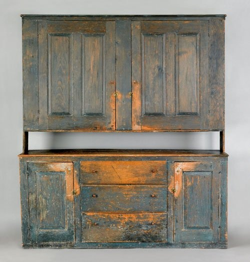 New Hampshire painted pine stepback cupboard
