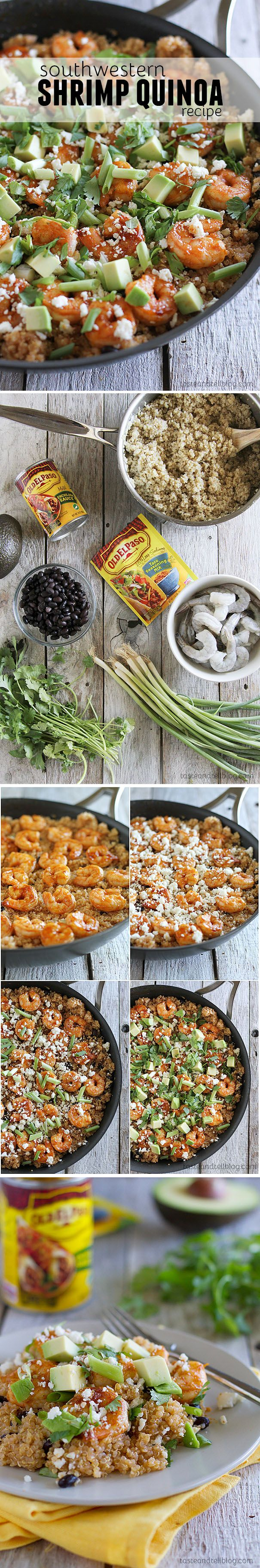 Southwestern Shrimp Quinoa - Healthy doesn't have to be boring. This family friendly Southwestern Shrimp and Quinoa Recipe is filled with nutrition and lots of southwestern spice.