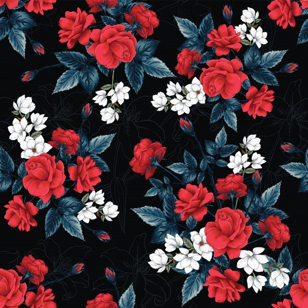 Seamless Pattern Red Rose Magnolia And Lilly Flowers Background Floral Pattern Vector Tropical Flowers Pattern Lilly Flower