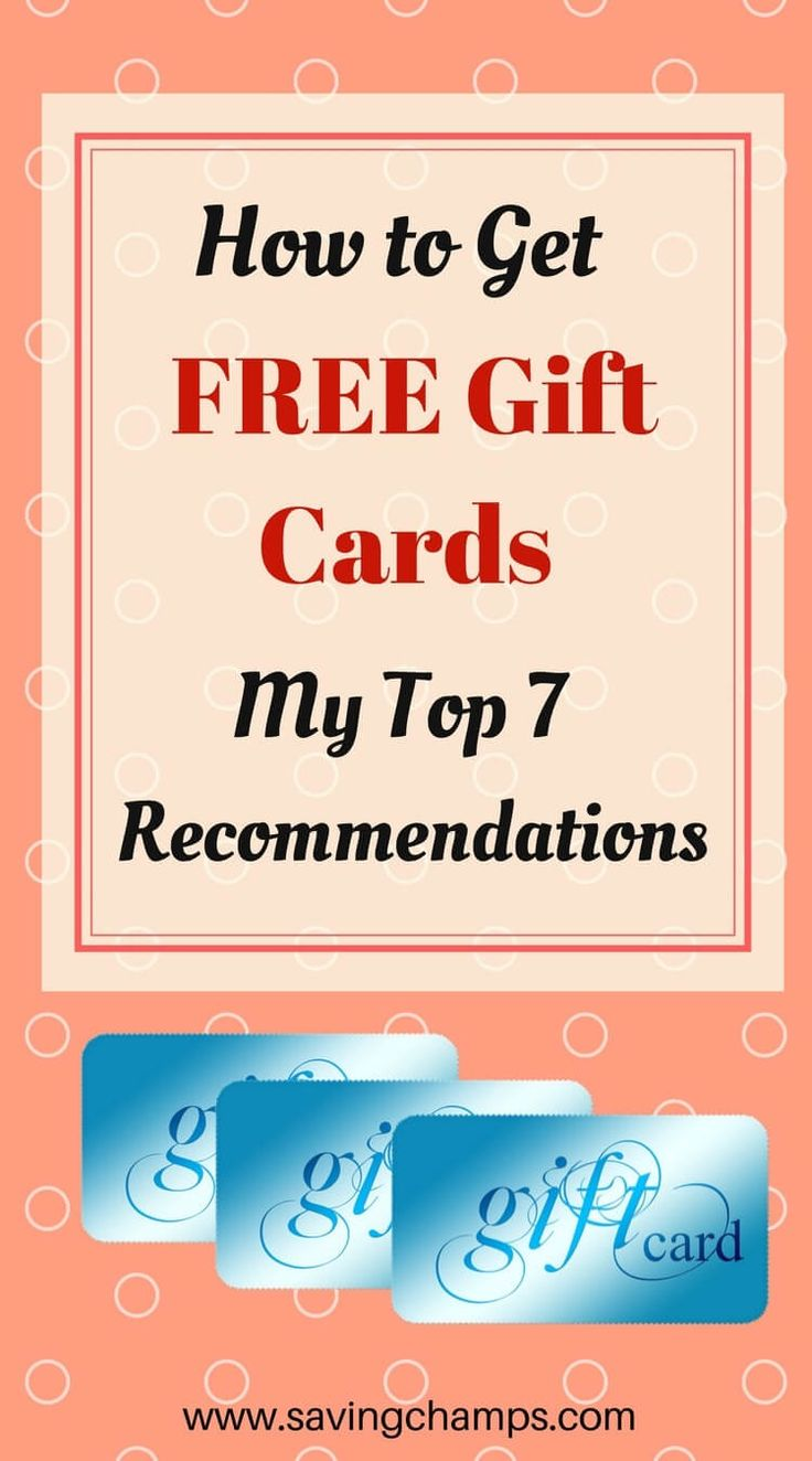 Here are my top 7 programs for earning free gift cards.  Earn money online, free gift cards, free stuff, how to get free gift cards