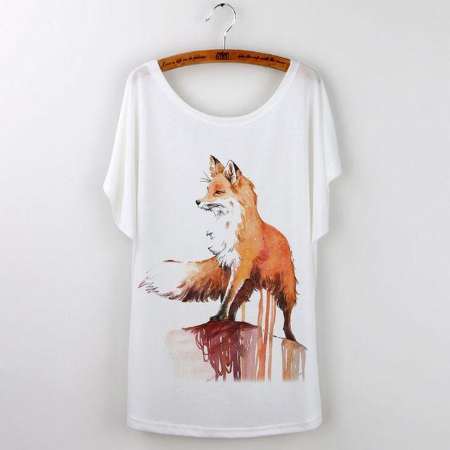 Summer Tops 2017 Animal T-Shirt Women Clothing Harajuku Cute Fox Short Sleeve White T Shirt Camiseta Feminina Tee Shirt Femme