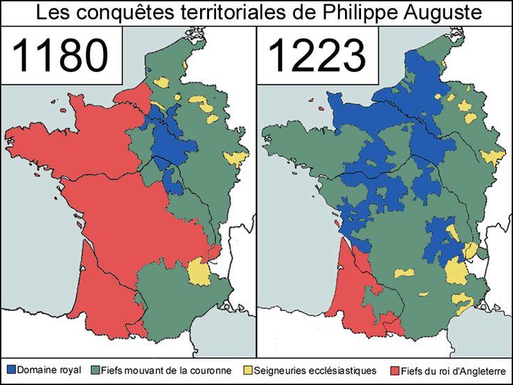 Carte de l'évolution du territoire de France entre 1180 et 1223 durant le règne de Philippe Auguste