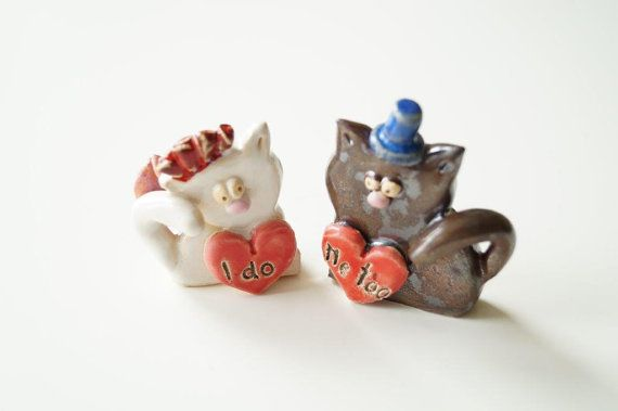 Wedding Cake Topper Cat Cake Topper Married Couple by HerMoments