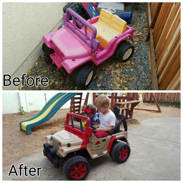 Bought a barbie power wheels jeep for $5 at a thrift store and transformed it into a Jurassic Park Jeep for my kids.