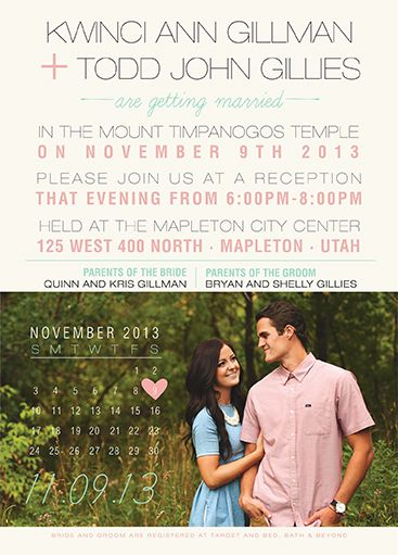 100% Custom Wedding Invitations. Affordable prices and high quality printing. Get the wedding invitation you deserve for the big day! Check us out at UtahAnnouncements.com