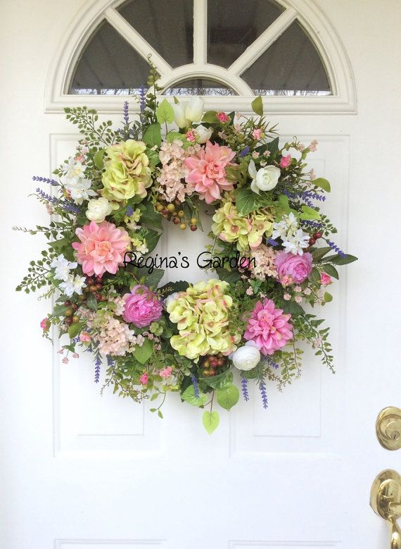 Spring Wreath-Summer Wreath-Easter Wreath-Wedding Wreath-Front Door Wreath-Farmhouse Wreath-Hydrangea Wreath-Mothers Day Wreath-Wreath  This lovely spring garden wreath would be perfect for a wedding, a housewarming gift or simply to welcome guests into your home. Gorgeous pink dahlias, green and pink blush hydrangeas, bupleurum, French lavender, ranunculus and sweet meadow flowers are combined to give this wreath a soft and delicate feel. Frosted variegated ivy, woodland fern and maidenhair…