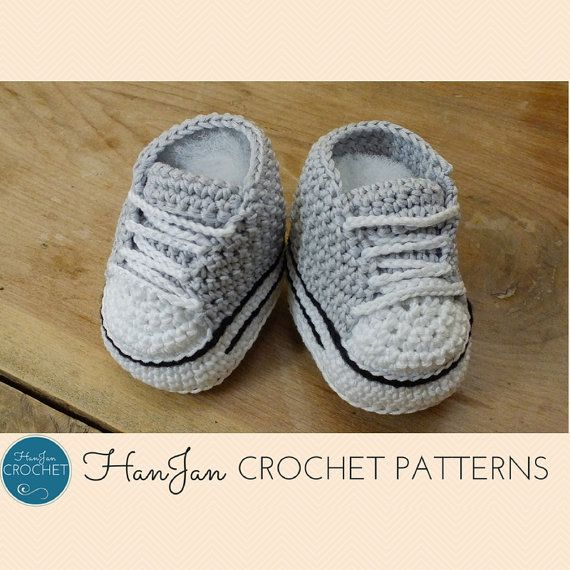 Instant Download PDF Crochet Pattern: Baby High Top Sneaker Boots, easy US instructions with HanJan crochet tutorial