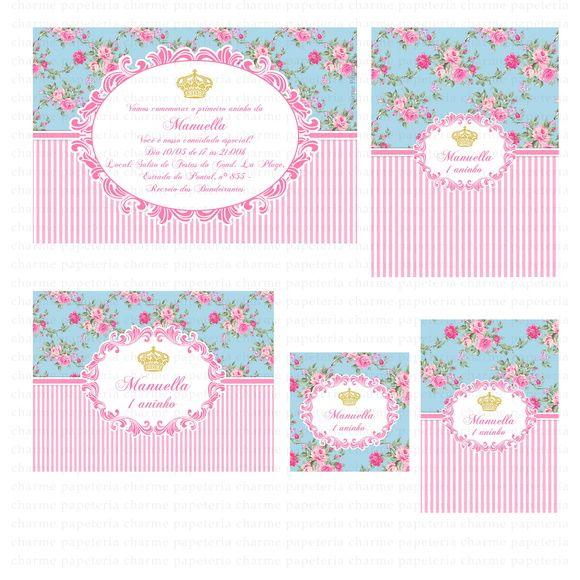 Kit digital para imprimir Princesa Rosa e azul floral     Os kits digitais da Charme Papeteria são personalizados, criados especialmente para você. Você pode escolher um tema do nosso portfólio ou um tema novo, mediante confirmação de disponibilidade. Nosso portifólio: http://www.elo7.com.br/kits-digitais/al/3BA8E    O cliente pode optar por uma das opções de compra:  PACOTE 1: Kit com 5 itens - R$ 50,00  PACOTE 2: Kit com 7 itens - R$ 68,00  PACOTE 3: Kit com 10 itens - R$ 93,00  PACOTE 4…