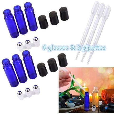 Blue Cobalt Glass Roll on Refillable Bottles for Fragrance Essential Oil