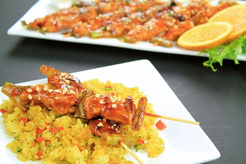 Dakkochi] Spicy chicken skewers with fried curry rice. | Korea ...