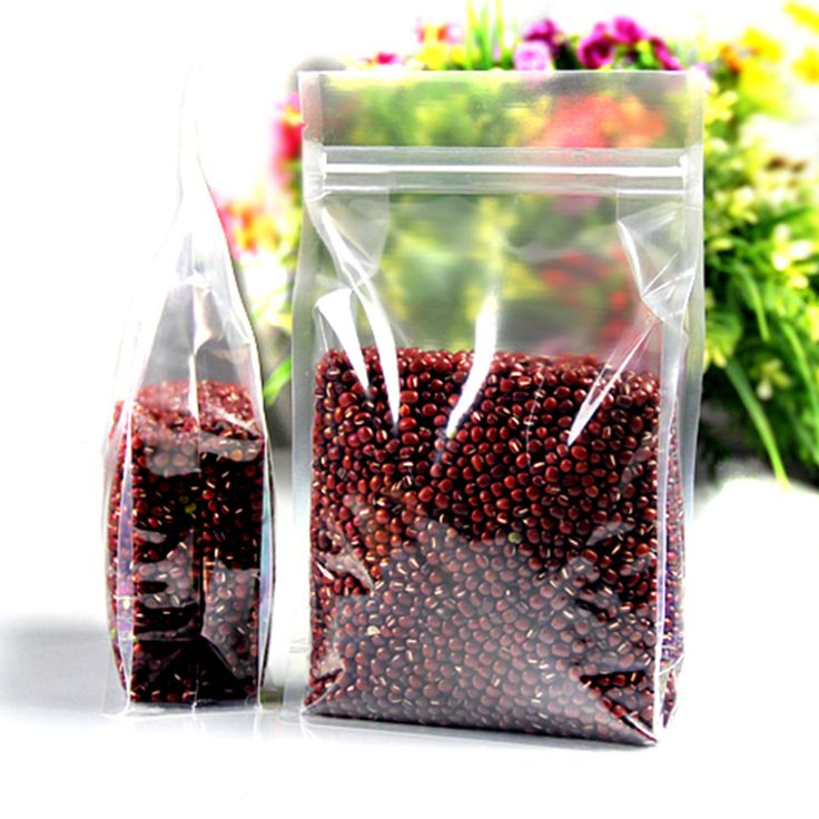 100Pcs Clear Plastic Zipper Bag Doypack Stand Up Side Gusset Ziplock Resealable Zip Lock Pouch Food Packaging Dried Fruit Beans #Affiliate