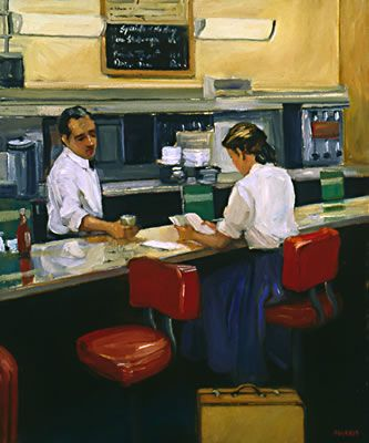 ✿Time For Coffee & Tea✿ Grand Central Café, Girl in a Blue Skirt, 2006 by Sally Storch