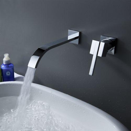contemporaine cascade de cuivres lavabo robinet (montage mural) avec vidage
