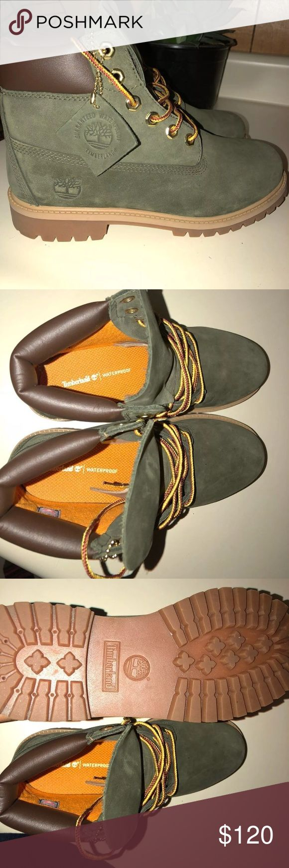 Olive Tims Size 6 men's, 8 women's olive green timberlands ! Super cute and in excellent condition. Timberland Shoes Winter & Rain Boots