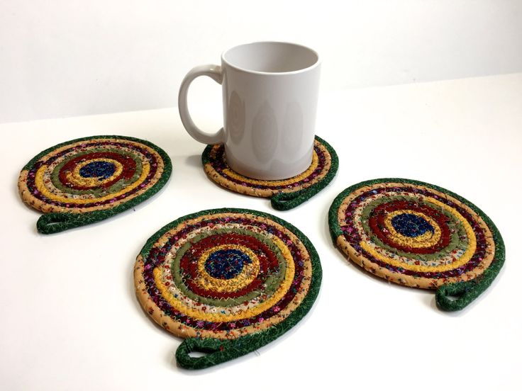 clothesline coiled rope coasters set of 4 scrapy farmhouse colors handmade large drink coasters ooak fiber art absorbent drink coasters - Drink Coasters