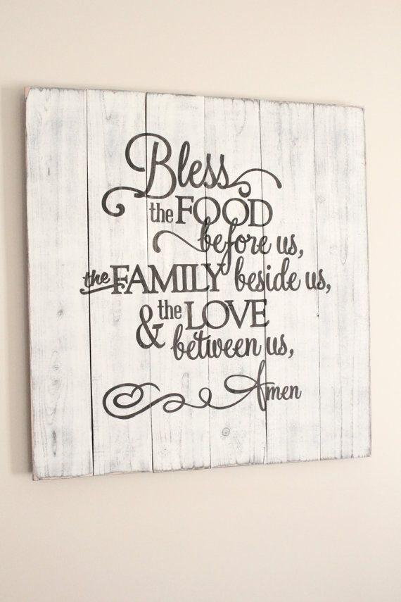 Bless the food before us rustic sign , huge dining room wall art , prayer decor , rustic kitchen sign , housewarming , wedding gift