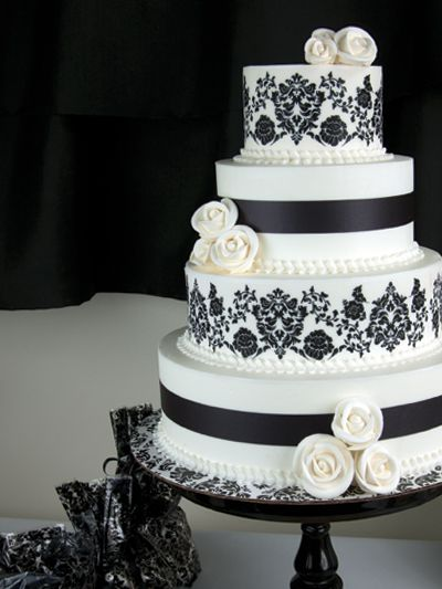 Black Damask Wedding Cake