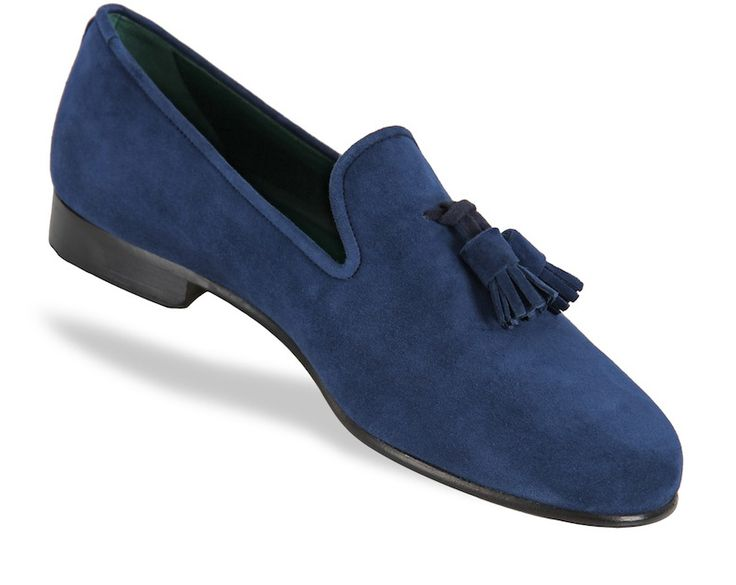 Chaussures slippers Hommes, navy suede tassels - Animas Code