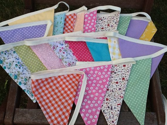 Summer Wedding Extra Long Bunting / Garland / Fabric Banner - 21 Large Flags, 20ft Long, Summer Celebration, Birthday Parties.