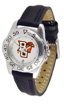 Bowling Green State Falcons Women's Leather Band Athletic Watch by SunTime. $49.95. Calendar Function With Rotating Bezel. Officially Licensed Bowling Green State Falcons Women's Leather Band Athletic Watch. Adjustable Band. Women. Leather Band-Scratch Resistant Crystal. Bowling Green State ladies watch with leather sports band. Women's Falcons watch comes with a genuine leather strap, date calendar, and rotating bezel/timer that circles the scratch-resistant crystal. Thi...