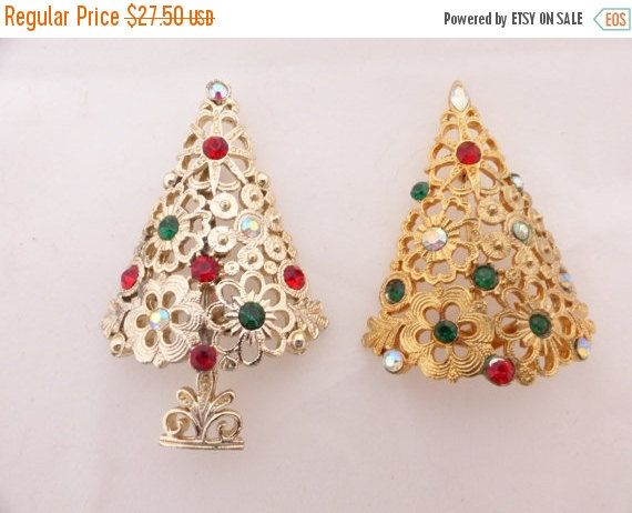 Christmas Clearance Lot of Two Christmas Tree Brooches - Tancer II and Mylu