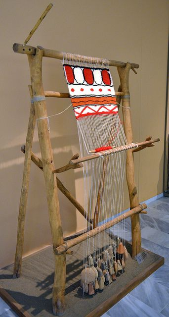 Recreated loom with ancient loomweights. Archaeological Museum of Aiani, Kozani, Greece. Photo: Dan Diffendale