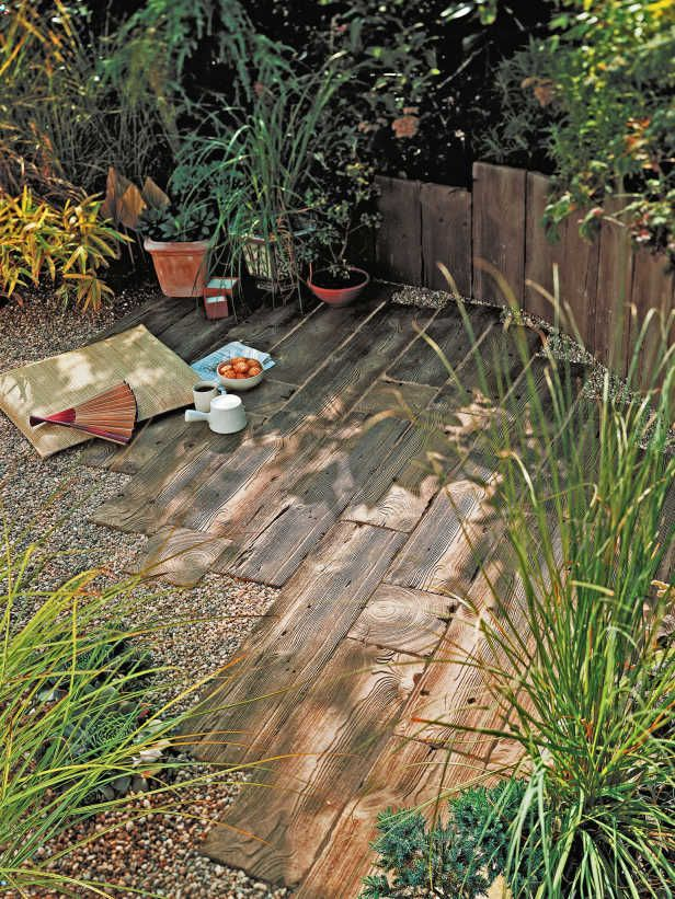 Old Railroad Ties Used for Rustic Pathways