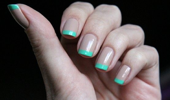 nude + mint french manicure #nail #art